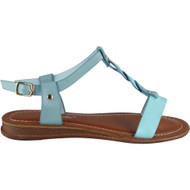 Leighton Blue Ankle Strap Flat Sandals