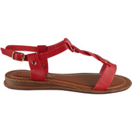 Leighton Red Ankle Strap Flat Sandals
