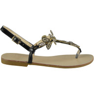 Maliyah Black Flat Diamante Bling Sandals