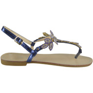 Maliyah Blue Flat Diamante Bling Sandals