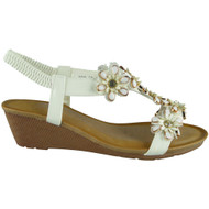 Kassidy White Elastic Strap Wedge Sandals