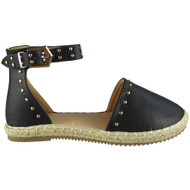 ANNY Black Ankle Strap Studded Sandals