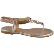 Tiffy Champagne Diamante T-Bar Flats  Sandals Elastic Strap
