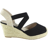 POLLY Black Elastic Strap Platform  Wedge Sandal