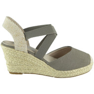 POLLY Grey Elastic Strap Platform  Wedge Sandal