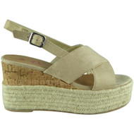 Cori Beige Cork Strappy  Platform Wedge Sandals