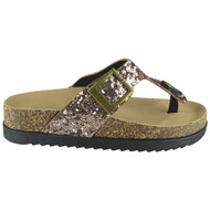 CEILA Champagne Comfy Sequin Slip On Sliders