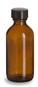2 oz Amber Boston Round Glass Bottle with Black Cap - BRA2
