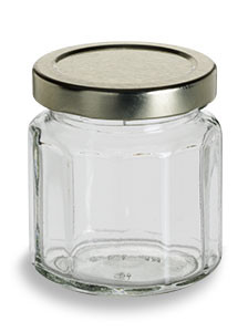 4 oz (120 ml) Multifaceted Glass Jar with Gold Lid - MF4