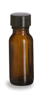 1/2 oz Amber Boston Round Glass Bottle with Black Cap - BRA1/2