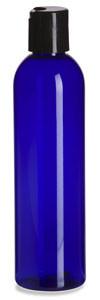 8 oz Blue PET Cosmo Plastic Bottle with Black Disc Cap - PBR8DB