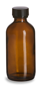 4 oz Amber Boston Round Glass Bottle with Black Cap - BRA4