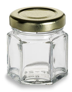 1.5 oz (45 ml) Hexagon Glass Jar with Gold Lid - HEX1