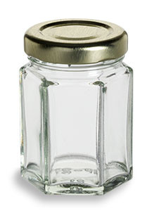 2 oz (55 ml) Hexagon Glass Jar with Gold Lid - HEX2