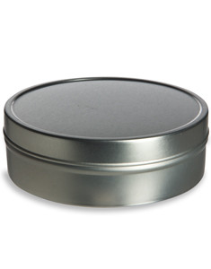 Tin Flat Container 8oz w/ Cover