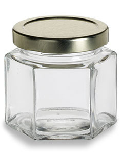 4 oz (120 ml) Squat Hexagon Glass Jar with Gold Lid - HEX4