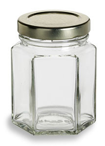 3.75 oz (110 ml) Hexagon Glass Jar with Gold Lid - HEX3