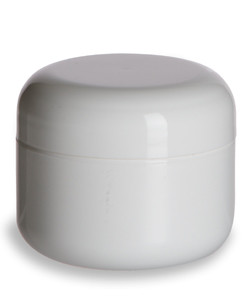 1 oz Double Wall White Plastic Jar with Dome Lid - DOUJ1