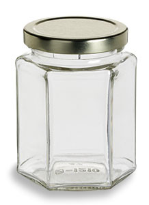 9 oz (265 ml) Hexagon Glass Jar with Gold Lid - HEX9