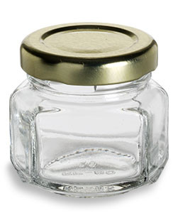 1.5 oz (45 ml) Oval Hexagon Glass Jar with Gold Lid - OHX1