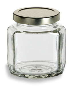6 oz (190 ml) Oval Hexagon Glass Jar with Gold Lid - OHX6