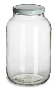 1 Gallon (128 oz) Clear Widemouth Glass Jar with White Metal Lid - GAL1F