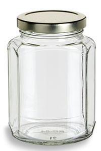 12 oz (375 ml) Oval Hexagon Glass Jar with Gold Lid - OHX12