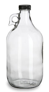 1/2 Gallon (64 oz) Clear Glass Jug with Black Plastic Cap - JUG1/2F