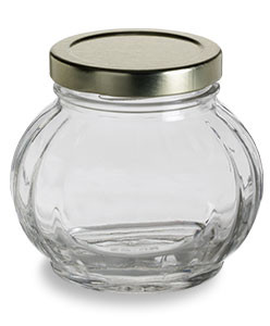 8 oz (225 ml) Faceted Glass Jar with Gold Lid - FACE8