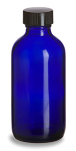 4 oz Cobalt Blue Boston Round Glass Bottle with Black Cap - BRB4