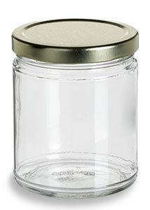9 oz Clear Straight Sided Glass Jar with Gold Lid - SS9TL