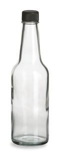 10 oz Woozy Round Glass Bottle with Black Cap - WZ10