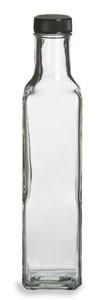 8.5 oz (250 ml) Quadra Square Glass Bottle with Black Cap - QDRA8