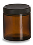 4 oz Amber Straight Sided Glass Jar with Black Lid - SALV4A