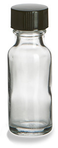 1/2 oz Clear Boston Round Glass Bottle with Black Cap - BRF1/2