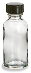 1 oz Clear Boston Round Glass Bottle with Black Cap - BRF1