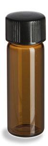 1 Dram Amber Glass Vial with Black Cap - VA1