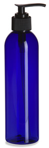 8 oz Blue PET Cosmo Plastic Bottle with Black Pump - PBR8P