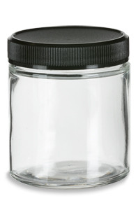4 oz Clear Straight Sided Glass Jar with Black Lid - SS4