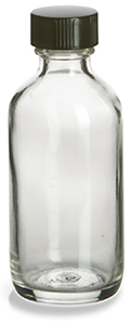 2 oz Clear Boston Round Glass Bottle with Black Cap - BRF2