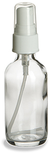 2 oz Clear Boston Round Glass Bottle with White Atomizer - BRF2AW