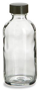 4 oz Clear Boston Round Glass Bottle with Black Cap - BRF4