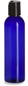 4 oz Blue PET Cosmo Plastic Bottle with Black Disc Cap - PBR4DB
