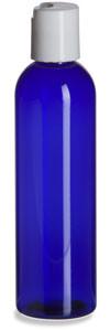 4 oz Blue PET Cosmo Plastic Bottle with White Disc Cap - PBR4DW