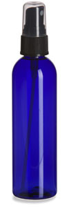 4 oz Blue PET Cosmo Plastic Bottle with Black Atomizer - PBR4AB