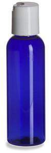 2 oz Blue PET Cosmo Plastic Bottle with White Disc Cap - PBR2DW