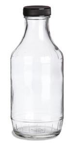 16 oz Decanter Glass Bottle with Black Cap - DEC16B