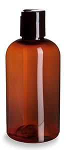 8 oz Amber PET Boston Round Plastic Bottle with Black Disc Cap - PXA8DB