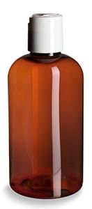 8 oz Amber PET Boston Round Plastic Bottle with White Disc Cap - PXA8DW