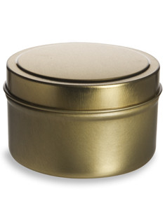 6 oz Gold Deep Tin Container with Slip Cover - TGLD6